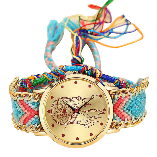 2019 NEW Vansvar Vintage Women Native Handmade Quartz Watch Knitted Dreamcatcher Friendship Watch Relojes Mujer Drop Shipping #