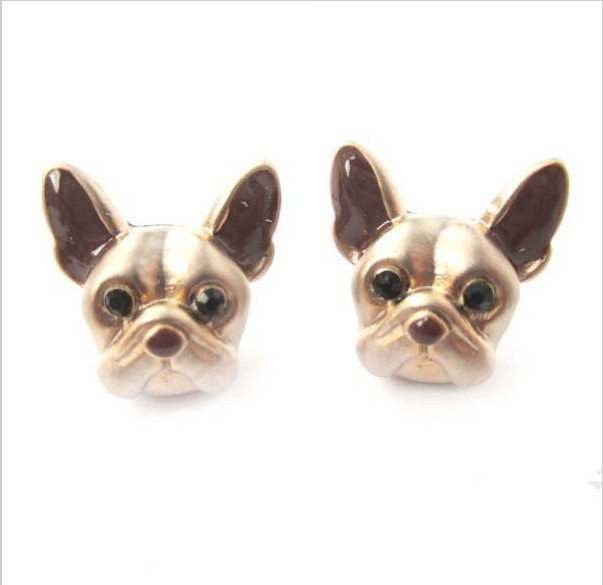 New Style Hot Sale 1Pairs Lovely 3d Fake Gauge French Bull Dog Puppy Face Animal Earrings Fine Jewelry Ladies and Girls