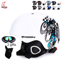 MOON Skiing Snowboard Helmet cover Autumn Winter Adult Men Skateboard Equipment Sports Safety Ski Helmets with goggles 2 Gifts