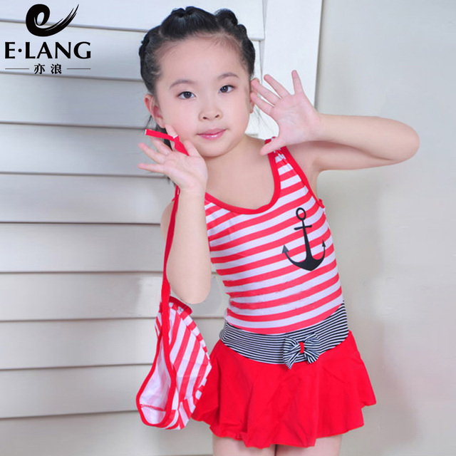 Sweet style E-Lang little girl's one-piece swimsuit, with beautiful swim cap for children's swimwear BS1637