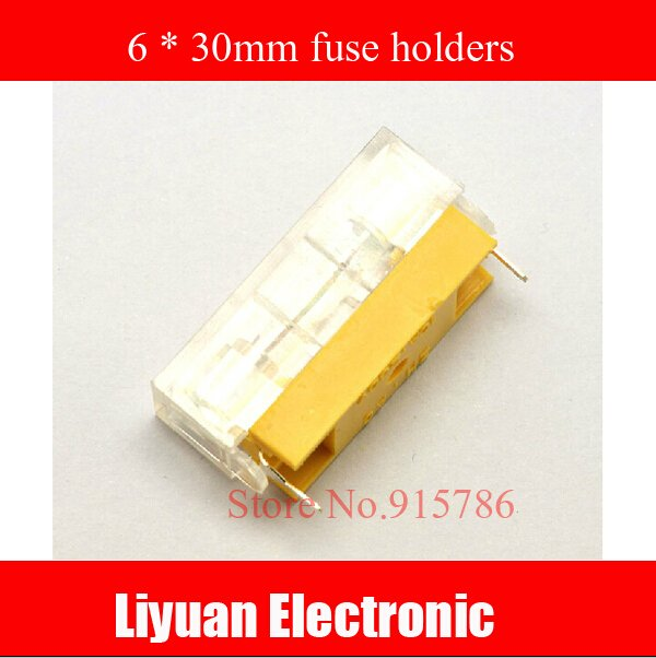 free shipping 20Pcs Welding Linked Transparent Covered Fuse Holders For 6x30mm Glass Fuse