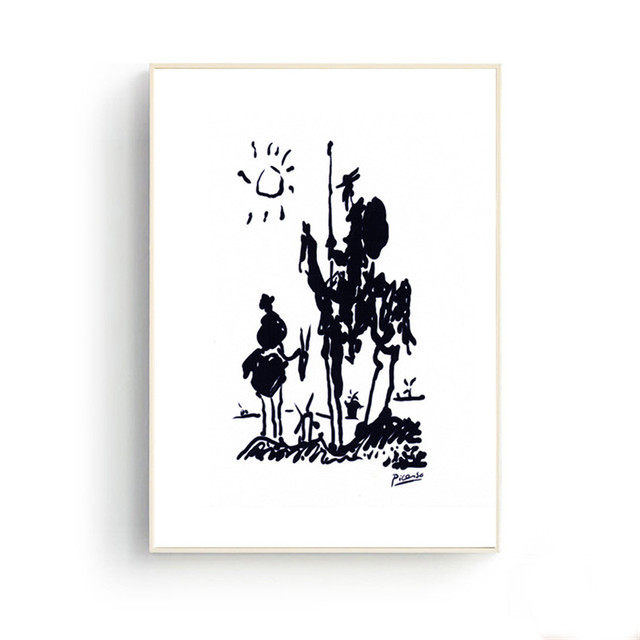 Picasso Simple Line Drawing Don Quixote Prints Wall Art Canvas Pictures for Living Room Office Decor Home Decoration