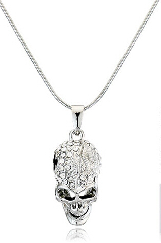 AAAA+ rhinestones top quality cool Czechhinykull pendant Necklace punk hiphop rock girls Fashion jewelry dropshippinghipping