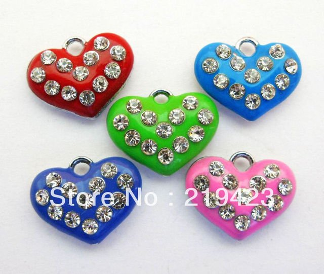 zinc alloy and Rhinestone mix color Heart 100pc  Hang Pendant Charm fit necklace cell phone charms