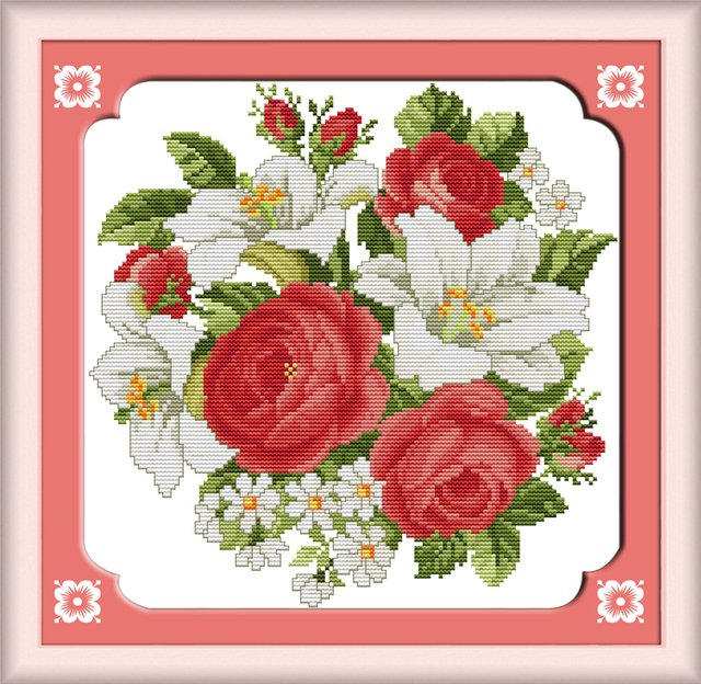 Rose & lily Cross Stitch Kits 11CT Printed 14CT Set DIY Chinese Cotton Cross-stitch Counted Embroidery Needlework