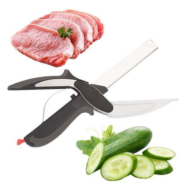 2 In 1 Multi-Function Kitchen Scissors Cutter Knife&Board Stainless Steel Kitchen Knives Meat Potato Cheese Vegetable Cut