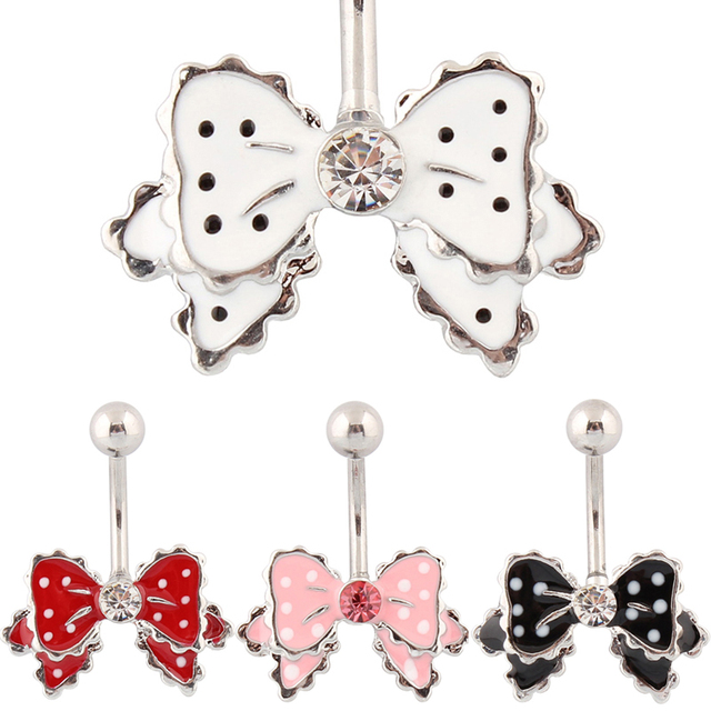 Belly button rings cravat navel rings body piercing bow body jewelry Wholesale 14G Surgical Steel bar nickel-free