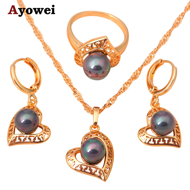 Heart design  Gold Tone Multicolor Pearl Jewelry Sets Earrings Necklace Ring SZ #6.75 #7 #5.75 #5.5 Fashion Jewelry JS146A