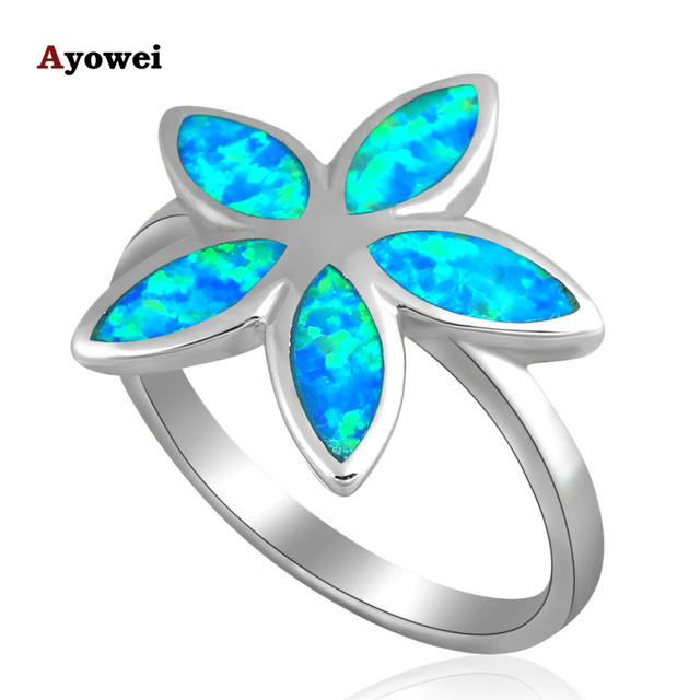 New arrival Wholesale & Retail Flower Blue fire Opal  silver color Rings USA sz #6.75 #7.5 #7.75 Best Anniversary gifts OR459A