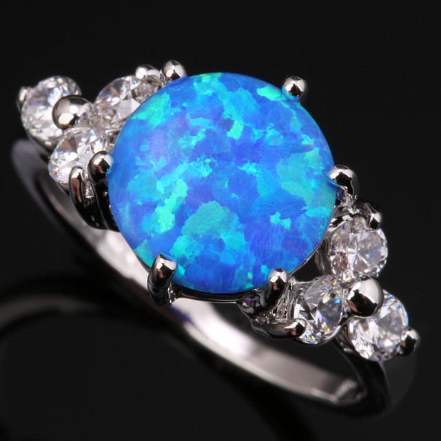 Solitaire Gems Blue Fire Opal & White  Silver Plated Argent Shy Jewelry Us# Size 6 7 8 9 SF1001