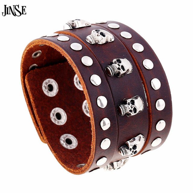JINSE New Vintage Wide Cuff Leather Bracelets Skull Bracelets & Bangle For Men Jewelry Fashion Punk Accessory HQ154