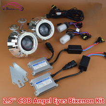 New Car Styling Accessories HID Bi xenon Headlight Lens Projector With COB LED White Angel Eyes Halo Xenon Lights Full Kit