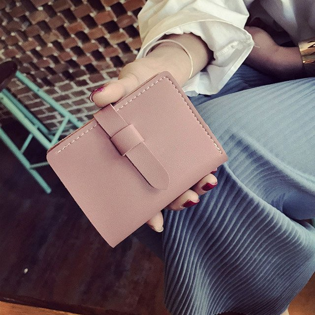 High Quality Ladies Vintage Short Coin Purse Women Solid Color Pumping Belt Wallet PU Leather Clutch Small Wallets Popular