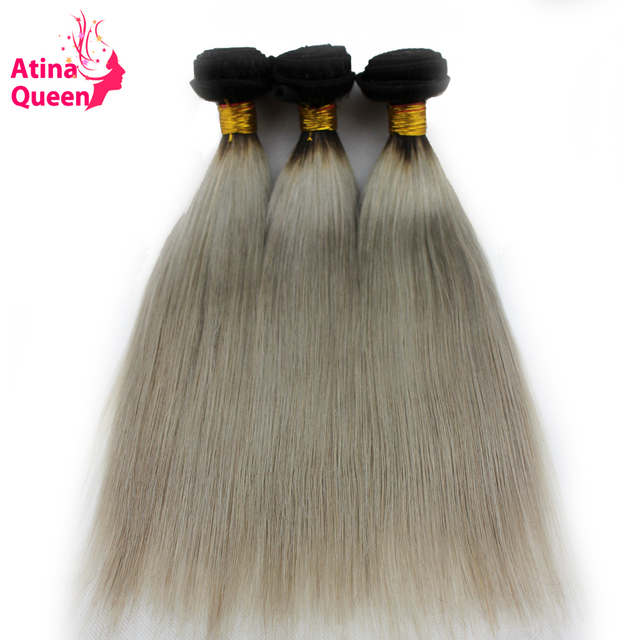 1b Grey Body Wave 3 Bundles lot Ombre Silver Gray Human Hair Weave Remy Hair 100% Human Hair Weaving Atina Queen Hair Products