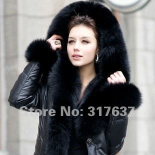 Russia Winter 2014 New Arrival Women Real Lamb Leather Down Coat Leather Outerwear Huge Fox Fur Trim Hood Solid Black Thick 4XL