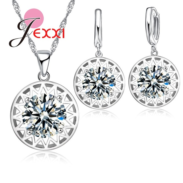 Trendy Round Sun Crystal Stone Pendant Jewelry Set Woman Simple Decoration Neckalce Earrings 925 Sterling Silver