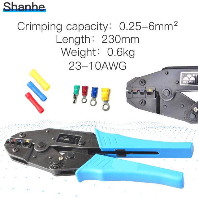 crimping plier 1-6.0mm2 DIE SETS good quality EUROP STYLE ratchet crimping tool