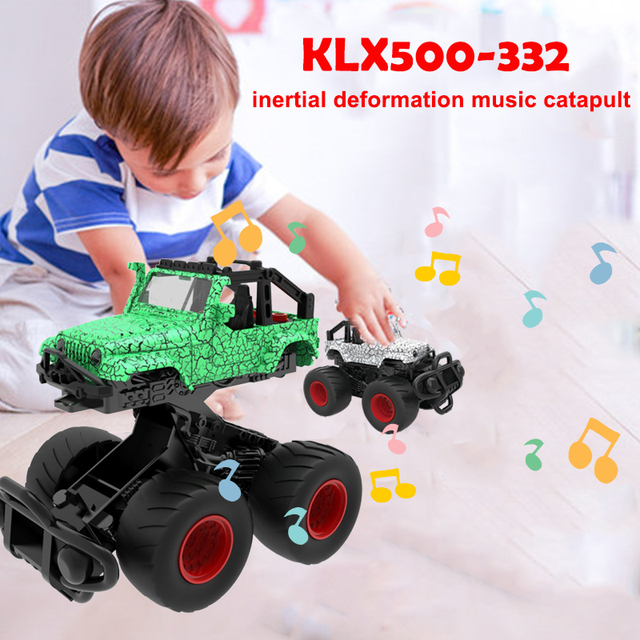 2018 Drop Shipping Ejection Car Fashion Light Inertial Car Music Interesting Cultivate Interest Deformation Car Hobby