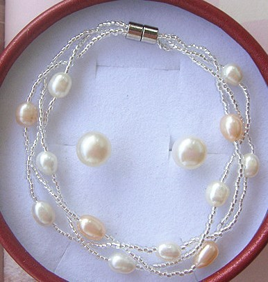 Wholesale Fashion Real Freshwater Pearl Jewelry Set, Bridal Jewellery Set, Exquisite Bridal Wedding Jewelry Set Accessory