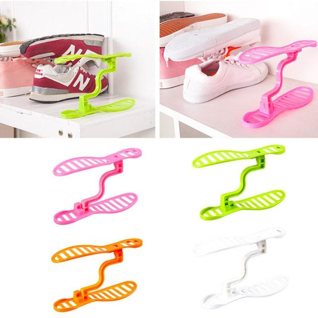 Shoes Holder Shelf Shoe Stretcher Portable Double Layer Shoes Rack Organizer Adjustable Space Saver Creative 4 Color Household
