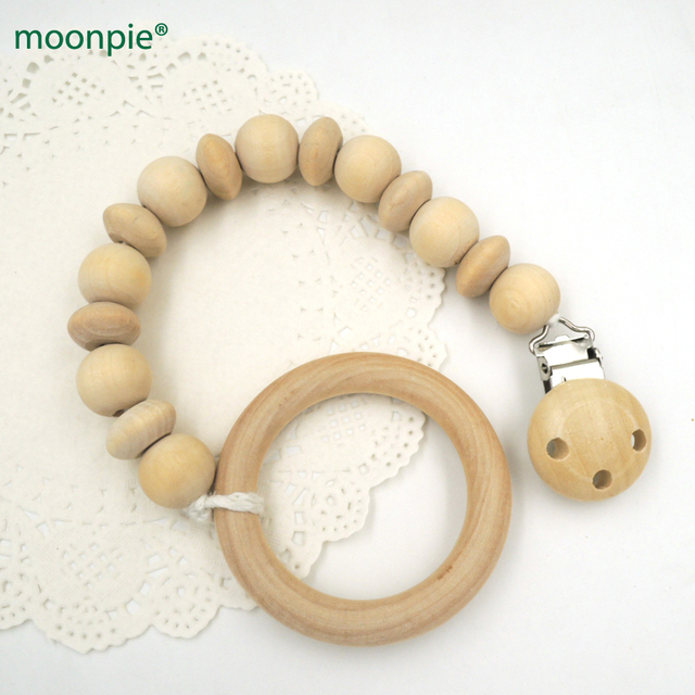 Natural Teether Pacifier Clip Holder Dummy Chain Holder Rattle Baby Shower Gift Wooden Clip Pacifier Holder Baby Outfit P729