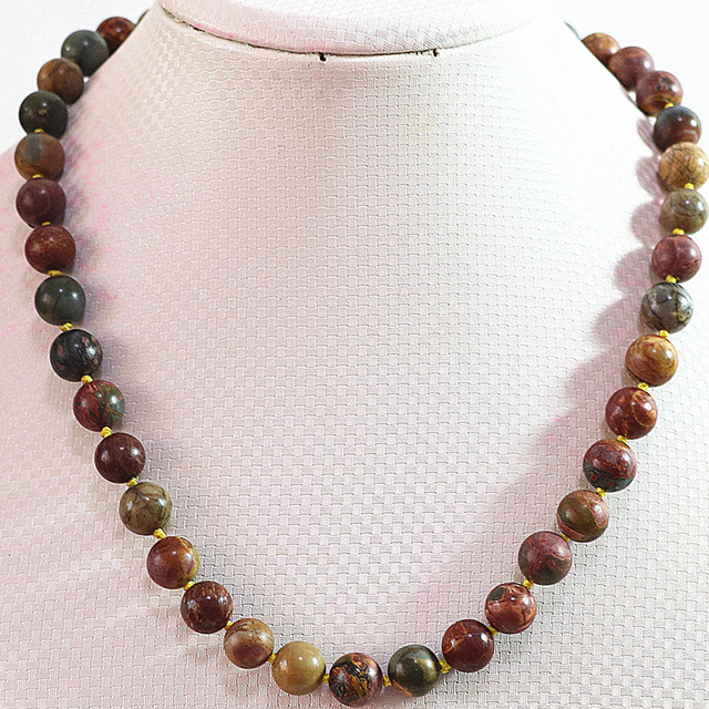 Vintage style natural picasso stone 8mm 10mm 12mm 14mm round beads chain strand necklace for women jewelry 18inch B728