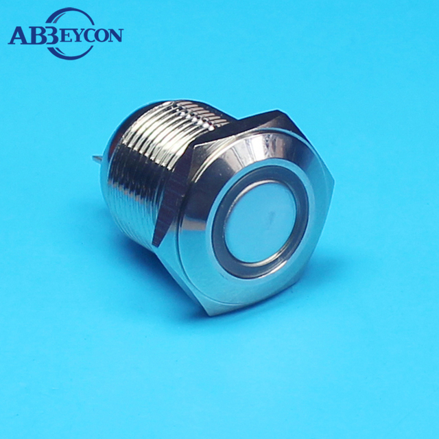 16mm Latching Metal Push Button Switch 3A250VAC LED Light Illuminated Waterproof 1NO Latching Brass Switch