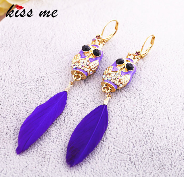 Fashion accessories oil tantalising owl feather Women earrings accessories Factory Wholesale