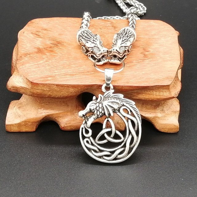 Ethnic Odin's Wolf Link Knot Dragon pendant necklace For Women Men Vintage Necklace Drop Shipping