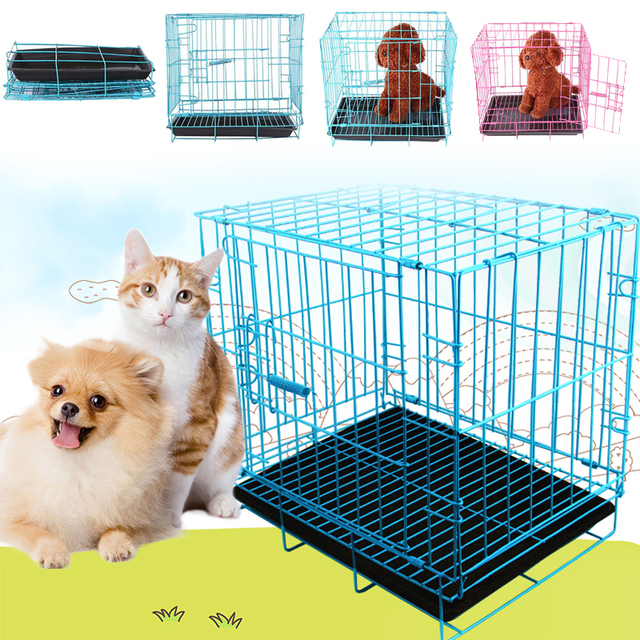 Collapsible Foldable Pet Cage Iron Wire Dog Cat Iron Cage Door Safe Home