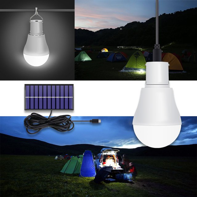 15W LED Solar Powered Lamp 250LM Waterproof Outdoor Light Led 5V Solar Charged Portable Bulb Solar Panel Tent Camping Lighting