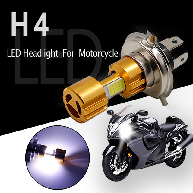 Motorcycle Headlight High Low Beam Light H4 COB LED Super Bright White Motorbike Head Lamp Bulb Moto Accessories