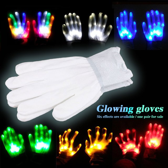 1 Pair Super Bright LED Gloves for Party DJ Disco for Holiday Festival LED Light Gloves Glow Light Gloves Fun Home