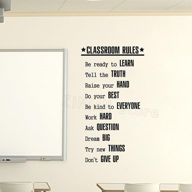Simple Classroom Rules Wall Sticker Decal Education Motivational Quote Stickers for Classroom Wall Decor Teacher Room Decal Z998