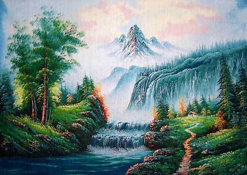 Free shipping Snow mountain Pictures,wall hanging tapestries,decoration art Fabric picture,size 40x57cm Wall hanging picture