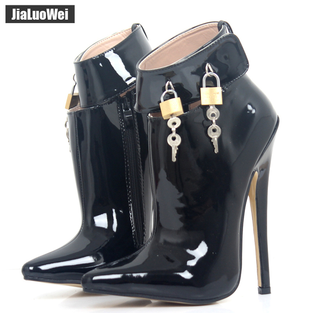 "jialuowei 18cm/7"" Super High Heel Shoes Woman Dance Party Shoes Lockable Ankle Strap Women Sexy Fetish Thin Heels Padlocks Pumps"