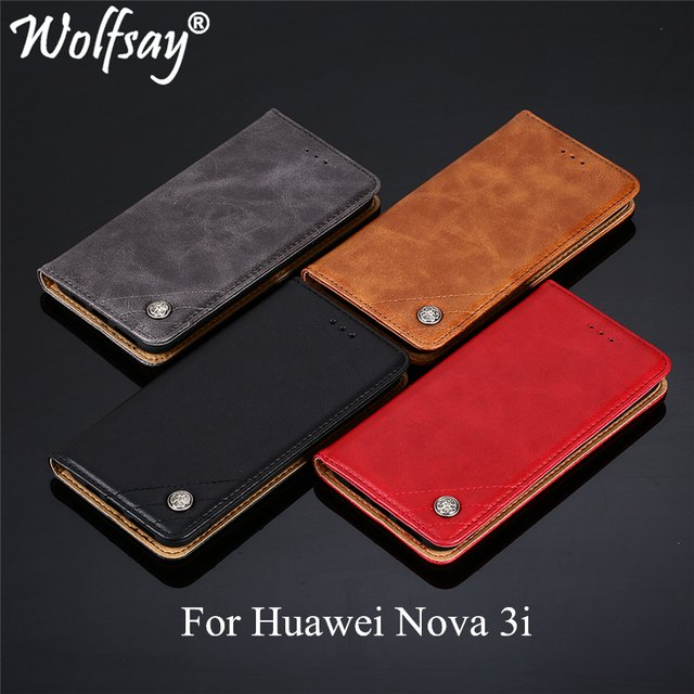 Wolfsay For Huawei Nova 3i Case Triangle Pattern Flip Cover PU leather & Soft TPU Inside Case for Huawei Nova 3i INE-LX9 INE-LX2