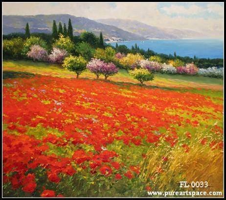 Tuscany flower field picture beautiful kinfe oil painting on canvas for home decor wall art