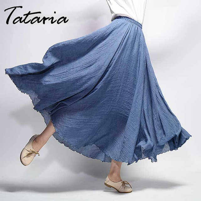 Tataria Cotton Linen Skirt Woman High Waisted Pleated A-line Skirts Women Vintage Elastic Waist Solid Color Ankle Length Skirt