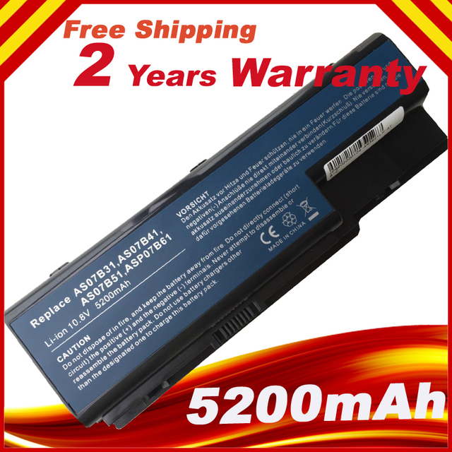 5200mAh battery for Acer AS07B31 AS07B32 Aspire 5230 5235 5310 5315 5730Z 5920 ,free shipping