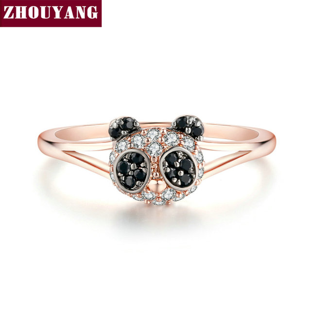 ZHOUYANG ZYR119 Gold Panda Of The Head Crystal Ring Rose Gold Color Made with Genuine Austrian Crystals Full Sizes