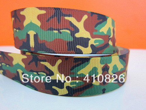 Q&N ribbon wholesale/OEM 7/8inch 22mm Camouflage Printed Grosgrain Ribbon 50yds/roll Free Shipping