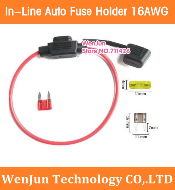 500PCS Free Shipping  Waterproof Mini Small Medium In-Line Auto Fuse Holder 16AWG length 30cm Vehicle fuse seat