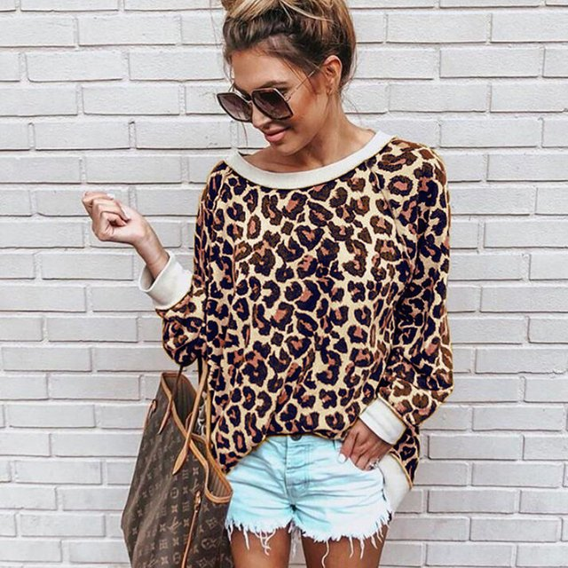 Women Causal Leopard Printed O- Neck Long Sleeve Pullover Tops Shirt mujer 2019 hoody ladies Ulzzang Korean Tee clothes