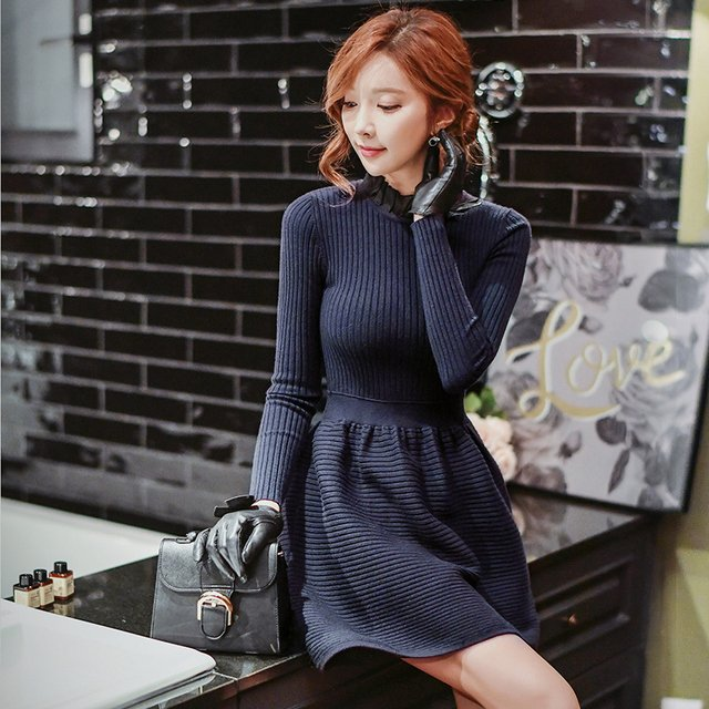 Original 2016 Brand Knitted Dress Autumn Winter  Elegant Casual Navy Blue Warm Sweater Dresses Women