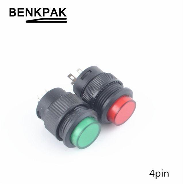 16MM self-lock & momentary push button switch ON-OFF with lamp 4pin