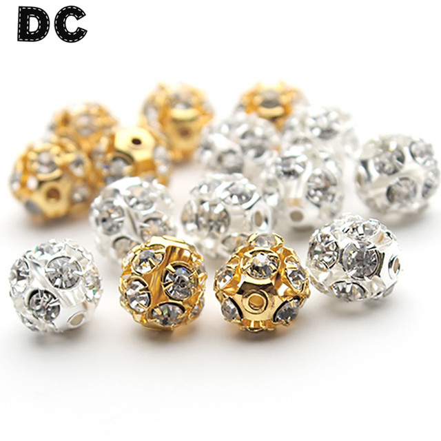 DC 30pcs/lot Gold Silver Color Rhinestone Crystal Big Round Ball Bead 6mm 8mm 10mm Loose Spacer Charm Beads DIY Jewelry Findings