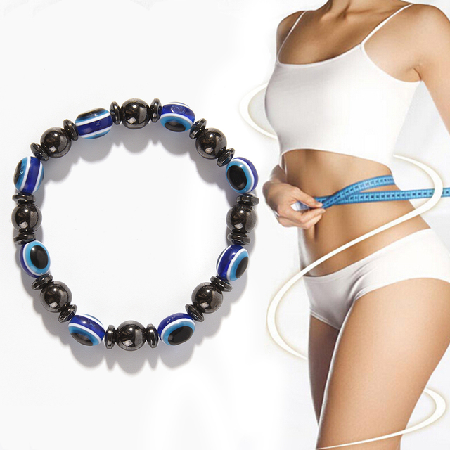 Magnetic Round Black and Blue Stone Therapy Bracelet Luxury Slimming Weight Loss Product Health Care