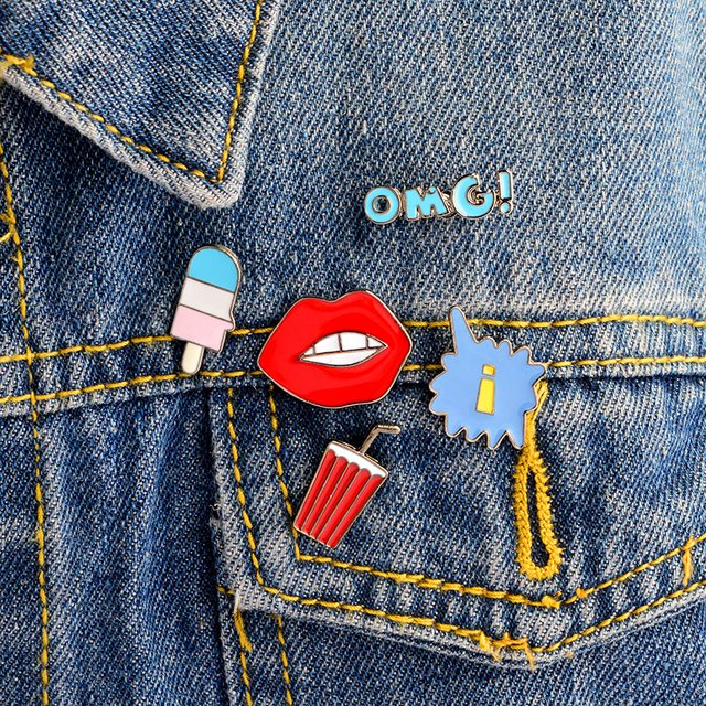 OMG! Mouth Juice Cartoon pins Hard enamel lapel pins Badges Brooches Backpack Jacket Accessories Jewelry Pins wholesale