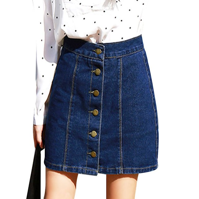 Denim Skirt High Waist A-line Mini Skirts Women 2019 Spring Summer New Arrivals Single Button Pockets Blue Jean Skirt Saia Jeans